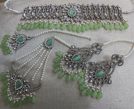 Silver Studded Green Beads - Moons Couture