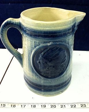 Blue Ceramic Pitcher Indian Motif