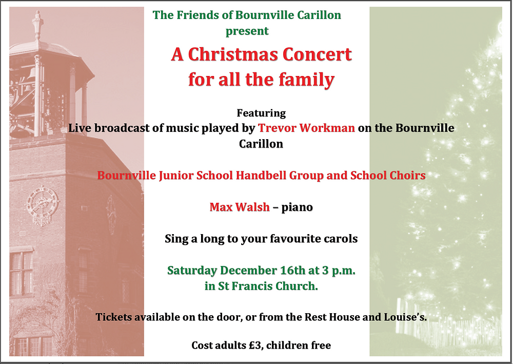 Come and enjoy this fabulous event featuring the children of Bournville Junior School with live transmission of Bournville Carillon: