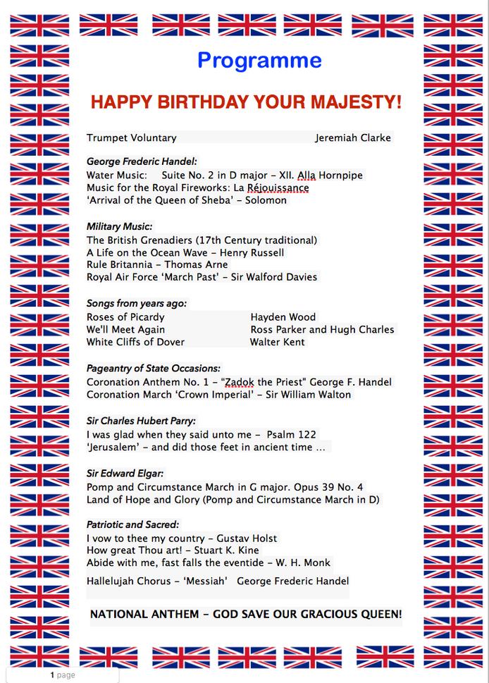 Carillon Recital in honour of                    Her Majesty Queen Elizabeth II