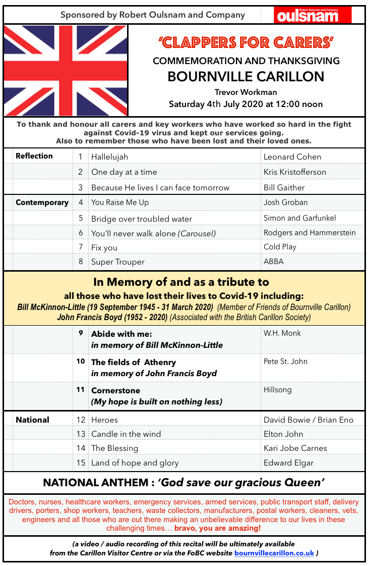 Saturday, 4th July. To thank and honour Key Workers and to remember those lost to Covid-19.