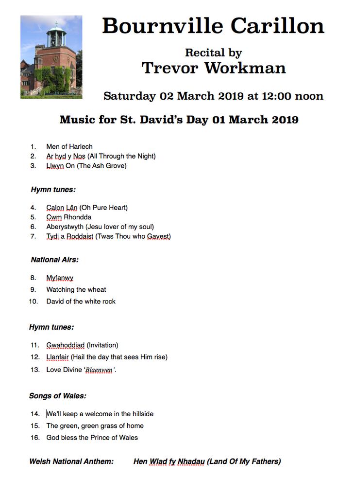 Carillon Recital for St. David's Day