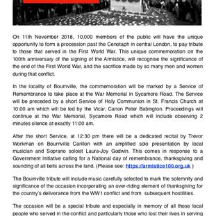 Bournville Act of Remembrance      WORLD WAR 1 ARMISTICE         Centenary Commemoration