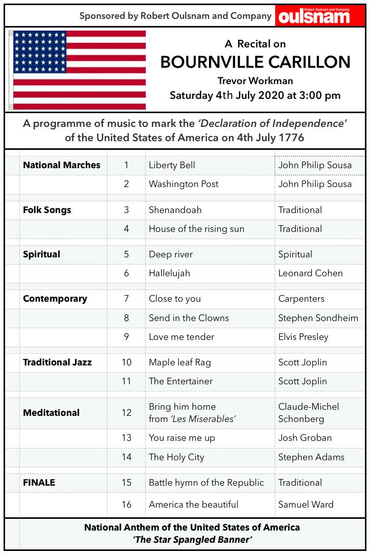 Bournville Carillon on Saturday, 4th July