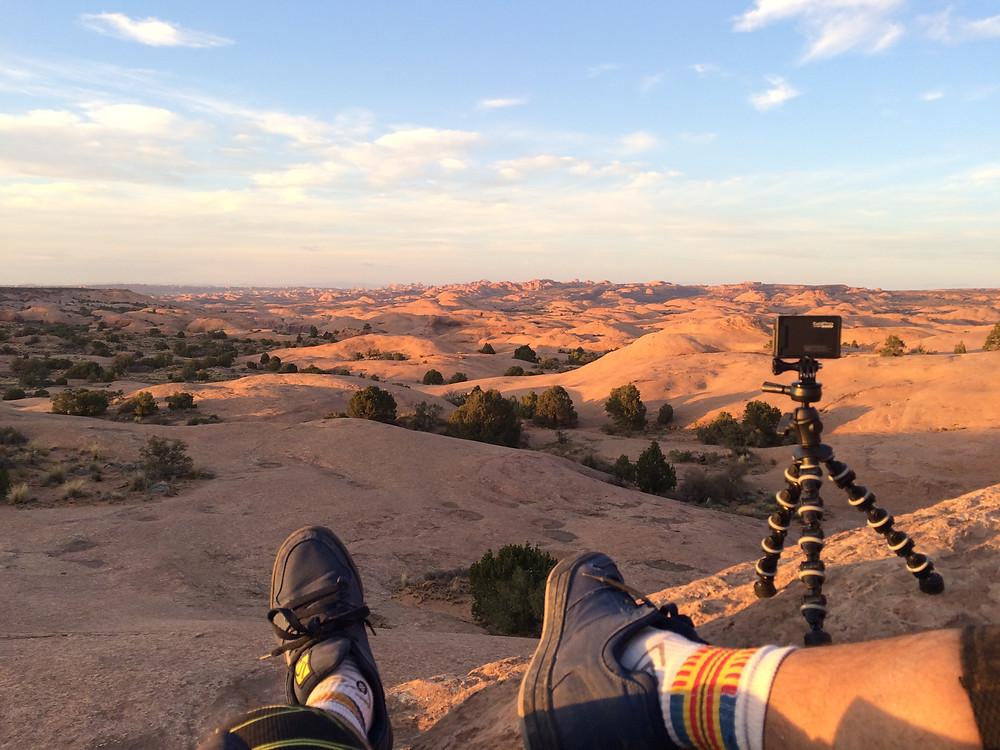 Observing sunset over Slickrock