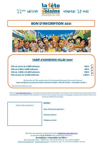 Inscription Fete des Voisins Mairie 2021