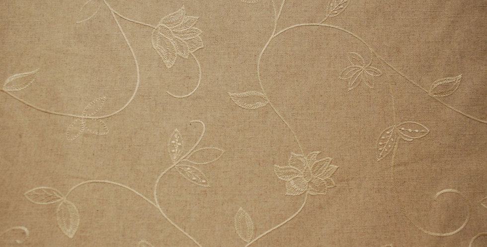 Wheat Linen Embroidered Fabric