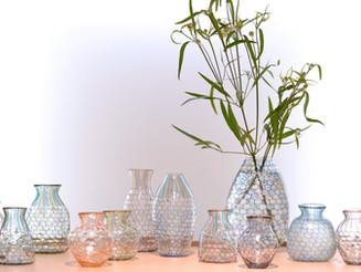 【吉村桂子 ガラス展-大地の風- 】サーカス一輪挿し 雨色トリコロール花器
