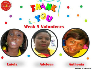 Our Week five volunteers are awesome...