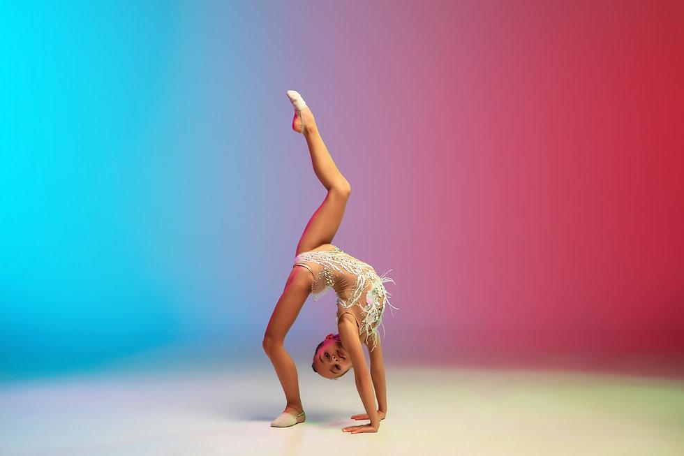 Dynamic. Little caucasian girl, rhytmic