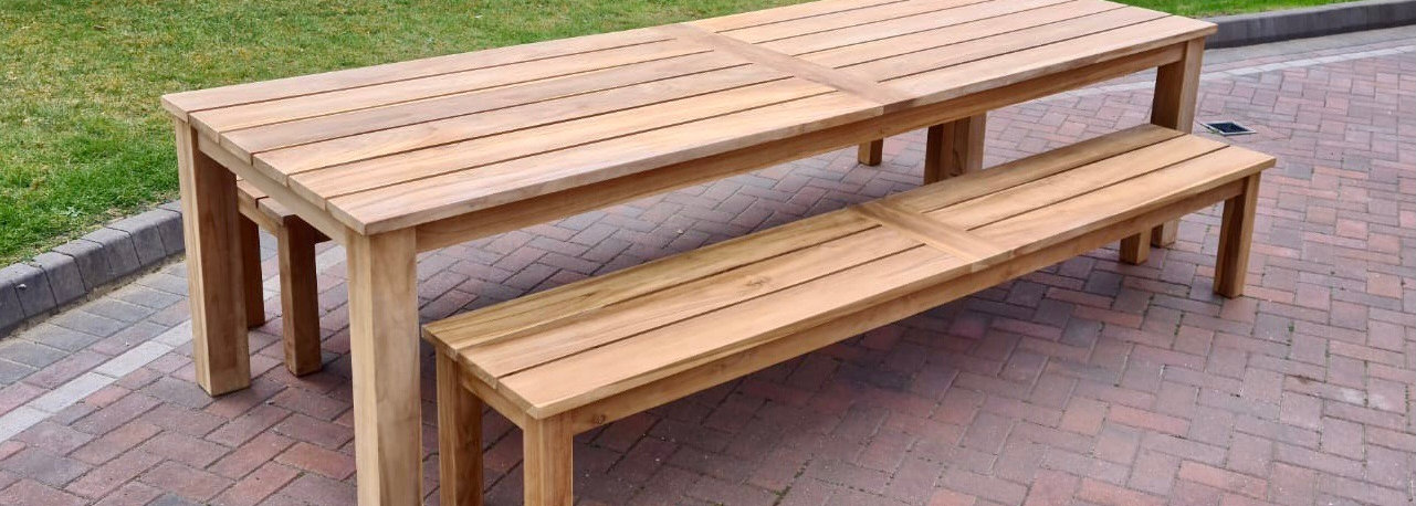 Teak table and benches
