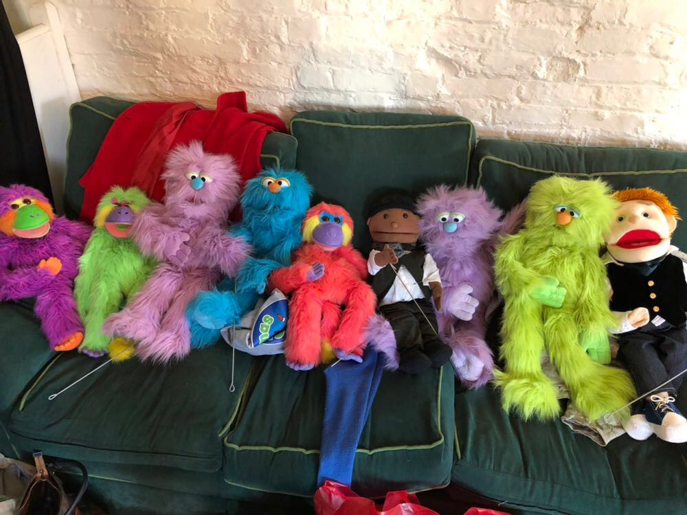 Our puppets enjoying some rest time between scenes!