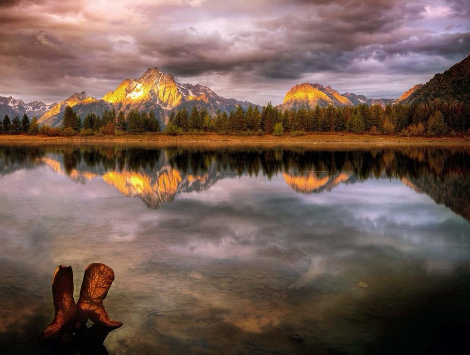 Boots and Mount Moran