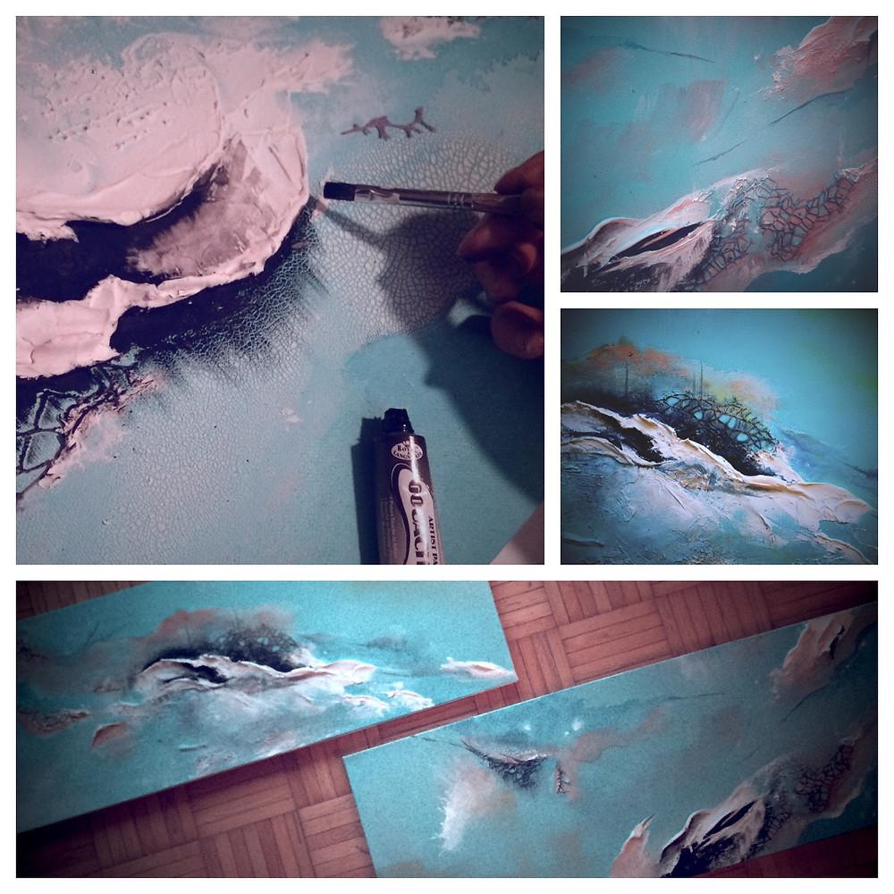 painting shadows, painting highlights, soft hues, abstract artist