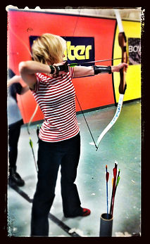 young blonde girl, archery, artist, Choolee, Julie