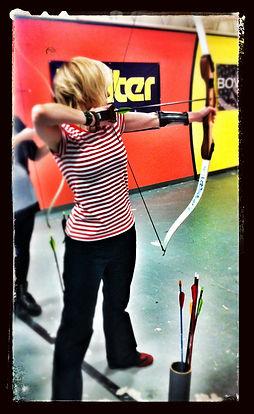 young blonde girl, archery, artist, Choolee, Julie