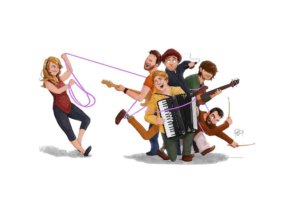 caricature, cartoon, band, band art, longrangehustle, music, cover art, album release, Town, Ontario musicians