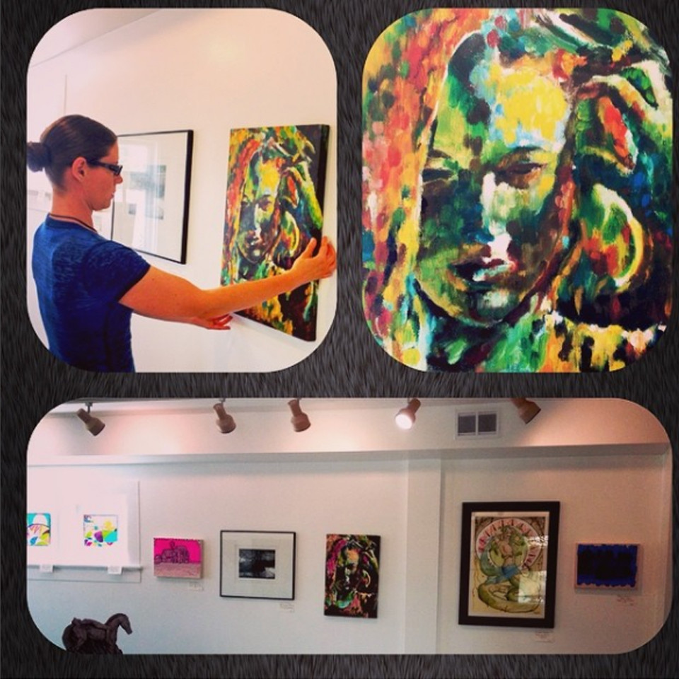 art store of waterloo, gallery, oil on canvas print, impressionist, impressionism, self-portrait, girl holding hair, colorful, stippled, for sale