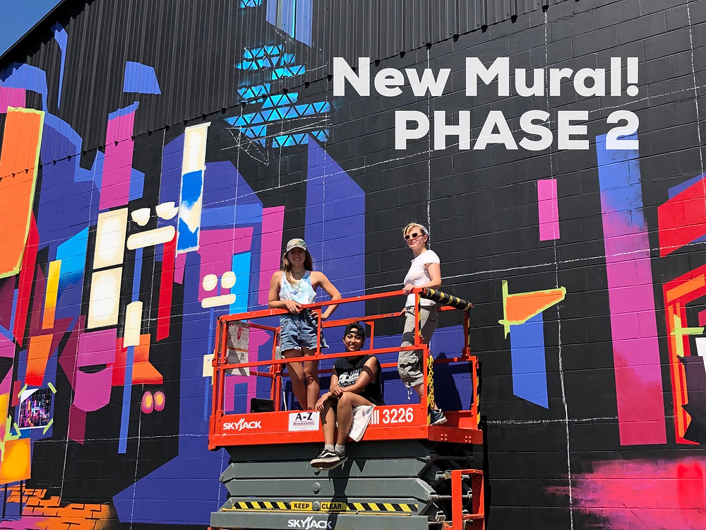 Progress shot of new mural art in Kitchener Ontario, Red Automotive, Victoria St N, Fast and the Furious, Salud mi Familia, street art, city at night in Tokyo Japan, spray paint, gradient colors