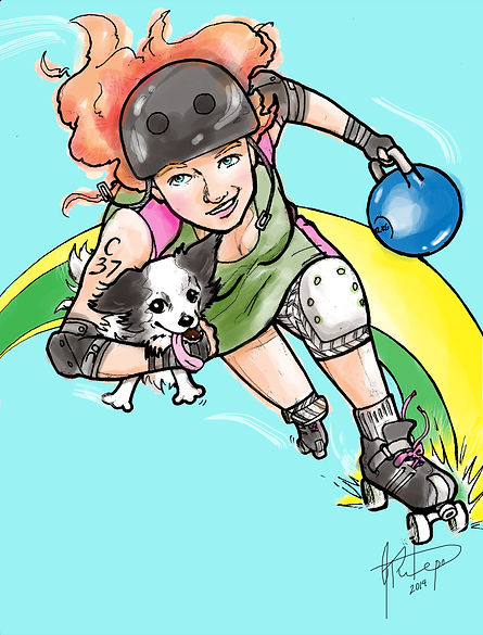 derby, girl, cartoon, caricature, dog, kettle ball, hardcore