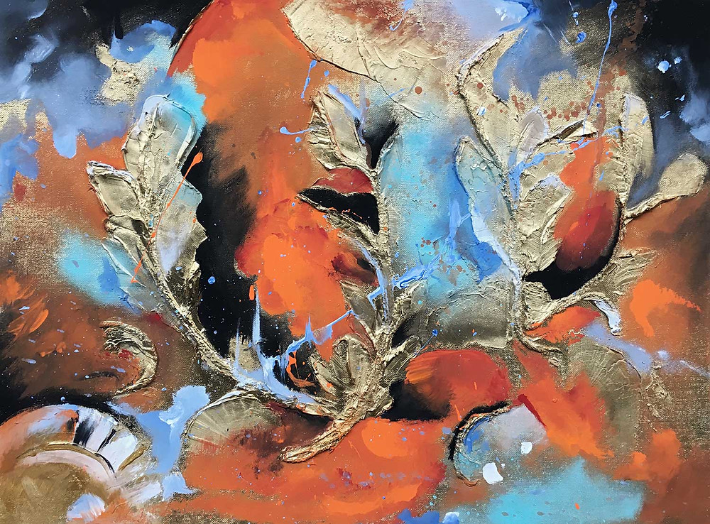 harbinger, abstract art painting, blues, oranges, black, gold leaves