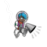 cute astronaut illustration, boy holding megaphone, boy with blue hair, dark skin