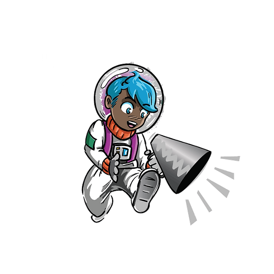 cute astronaut illustration, boy holding megaphone, boy with blue hair, dark skin