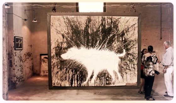 Banksy's wet dog painting in art gallery