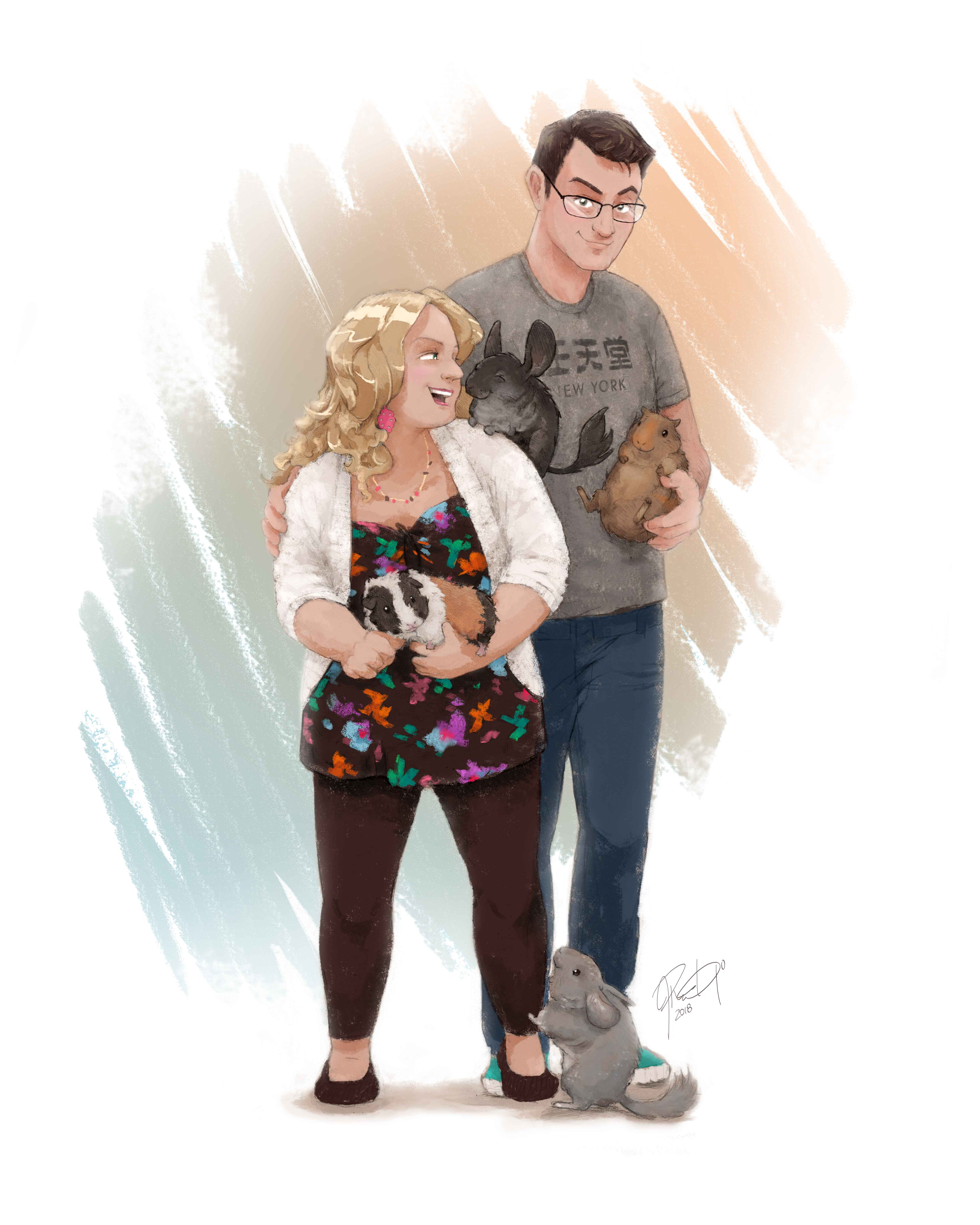 Family and Pet Caricature