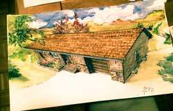 Family Home Watercolor Painting