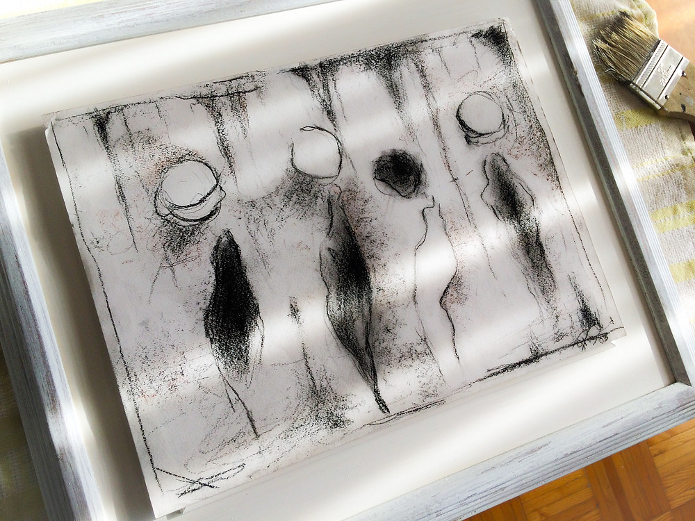 abstract charcoal drawing, black and white, sad people, peer pressure, loneliness, women of all sizes, emptiness, tortured