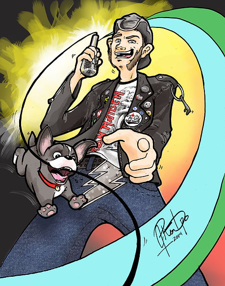 derby, league, announcer, cartoon, caricature, iron maiden, boston terrier, leather jacket, tri-city
