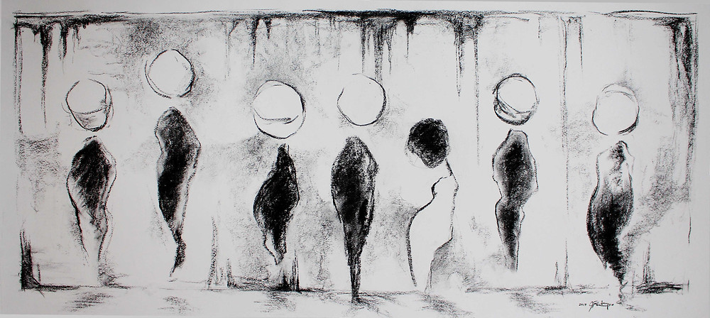 lonely, figures in a line-up, discrimination, feeling different, feeling alone, outcast, charcoal artwork