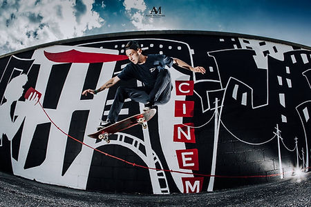 Mural art by Choolee with skateboarder