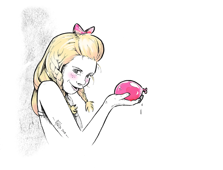 Blog-artwork-coy-blonde-girl-holding-balloon-line-art-caricature