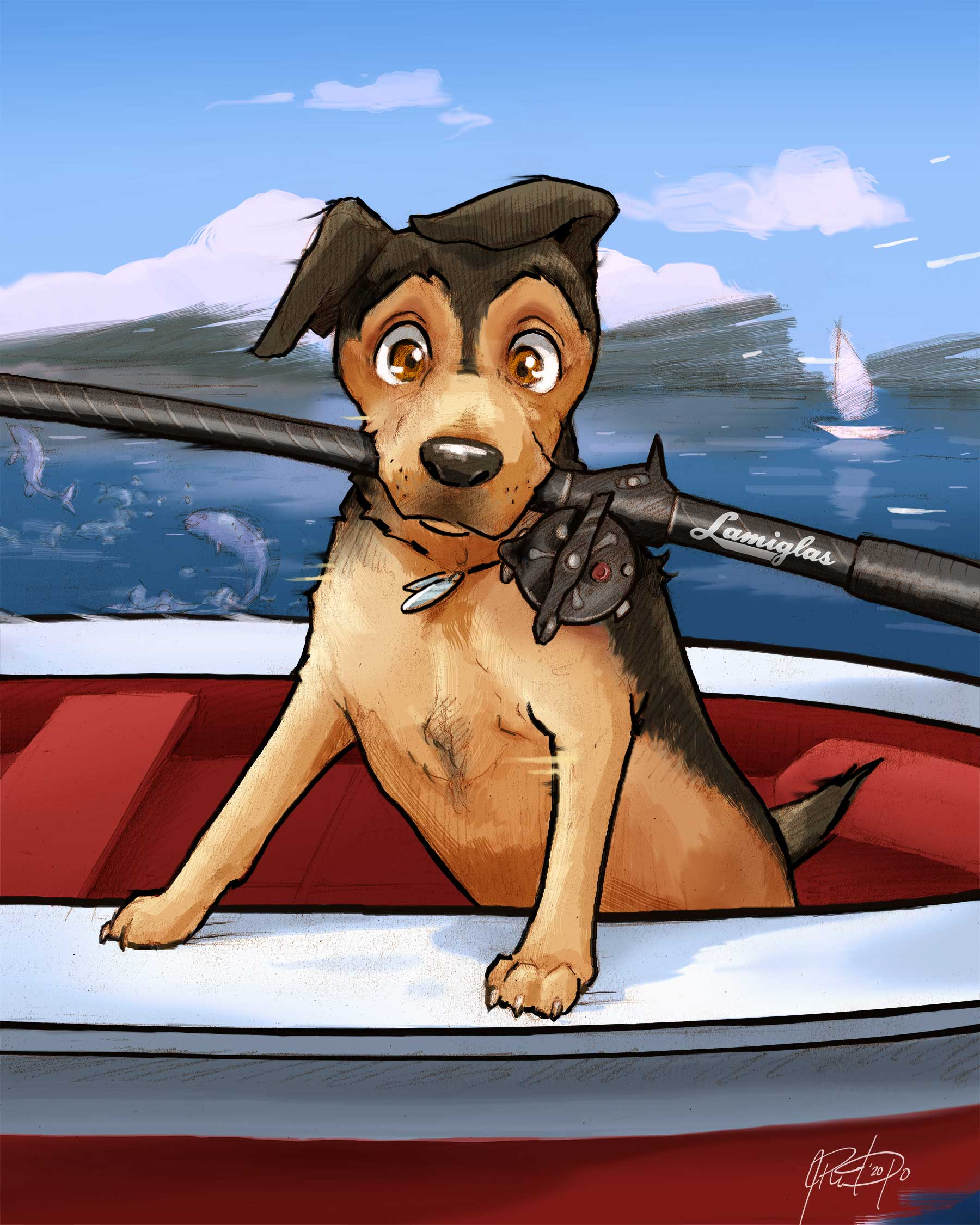 Fishing Pet Portrait Caricature