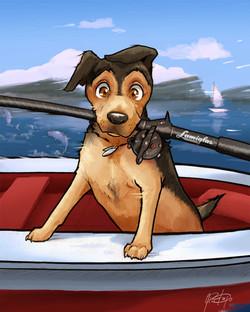 Fishing Pet Portrait Caricature