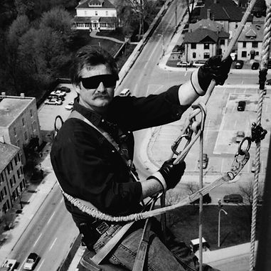 Stevan Moore, Owner, Manager, Fast Track Maintenance, window cleaners, window washers, black ad white photography, Kitchener Ontario, Founded in 1987
