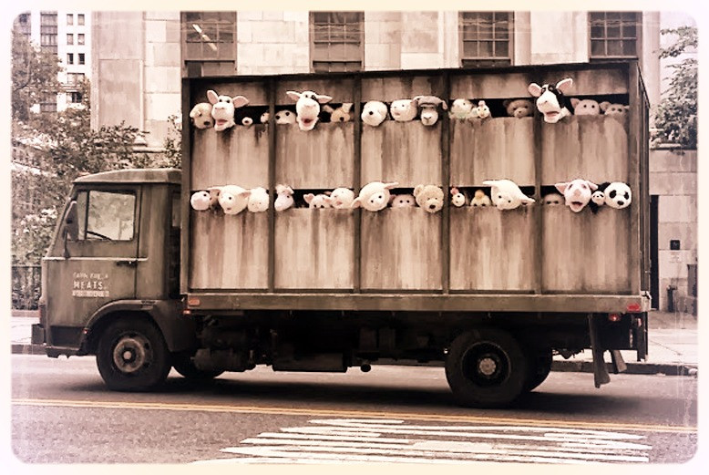 Banksy's art installation in new york, the meat truck, puppet animals on a truck