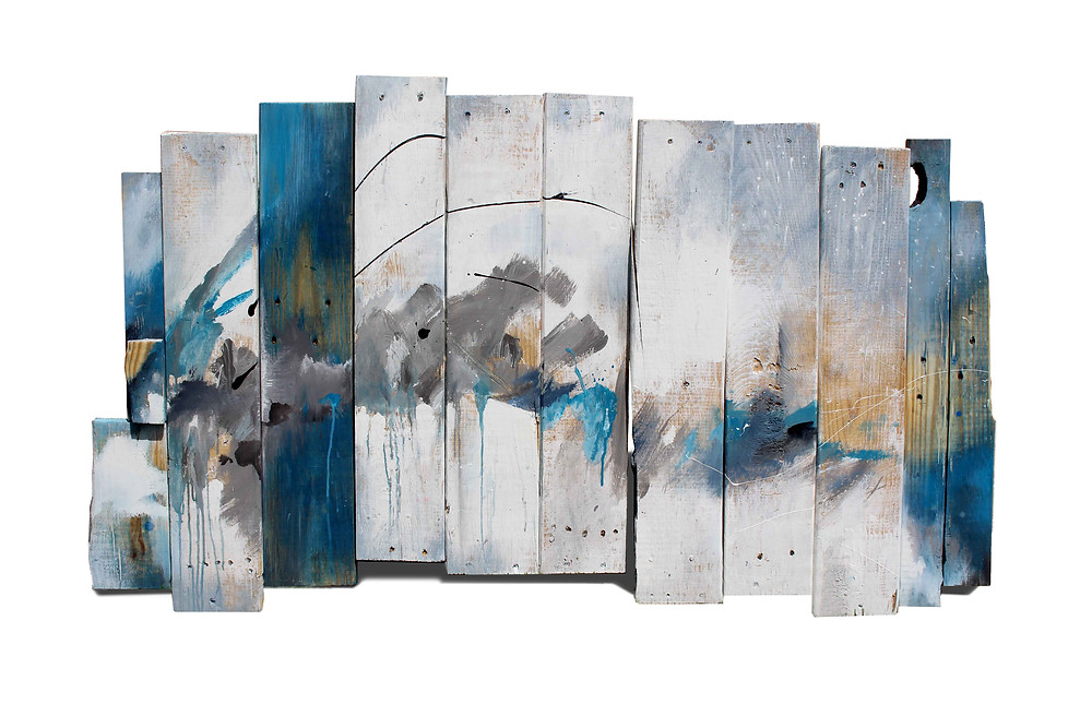 abstract painting on reclaimed wood, art print