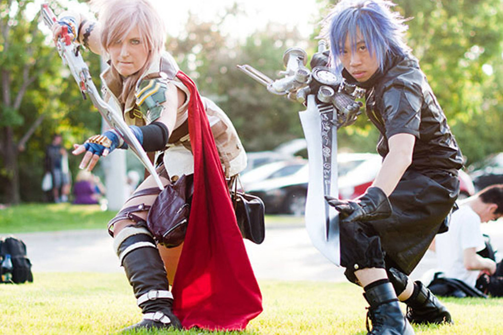 anime north, cosplay, costume, swords, blue hair, anime