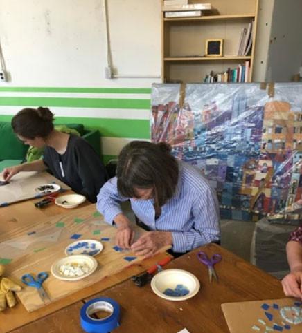 Arras mosaic, community workshop, fairview mall, public art