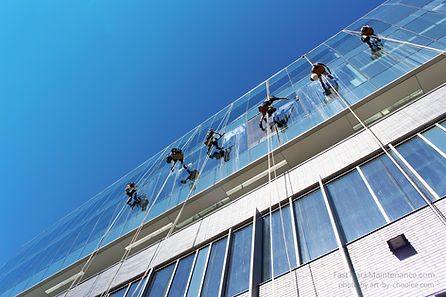 window cleaners, window washers, black ad white photography, ground view, bolson chairs, Google building, Kitchener Ontario, curtain wall