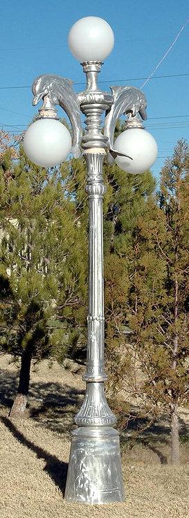 "Dolphin Lamp, 2 Arm 3 Light-H.9'5"""