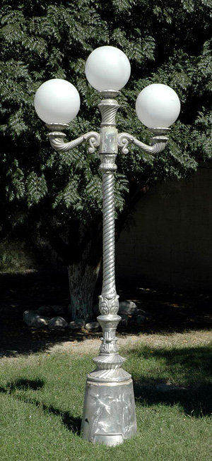 Victorian Lamp with Spiral Post, 2 Arm 3 Light-H. 7'7""