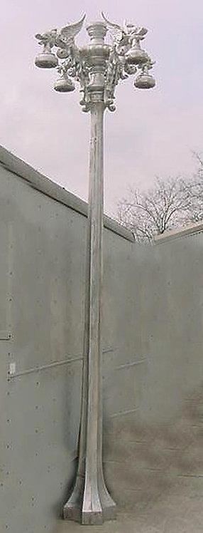 "Gargoyle Lamp on Hexagonal Post 4 Arm 5 Light-H.12' 2"""