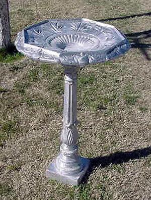 Birdbath,  Hexagonal Bowl, Balboa Base, Square Foot