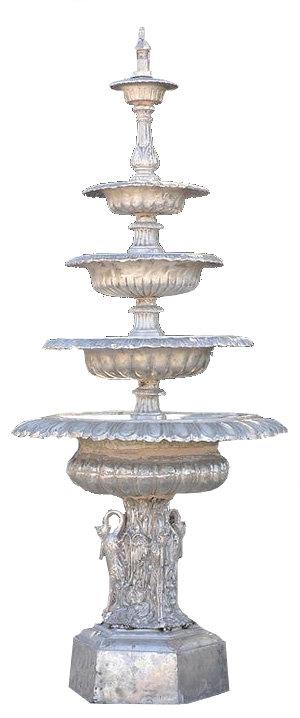 "5 Tier Swan Fountain with Hexagonal Base-H.9'8"""
