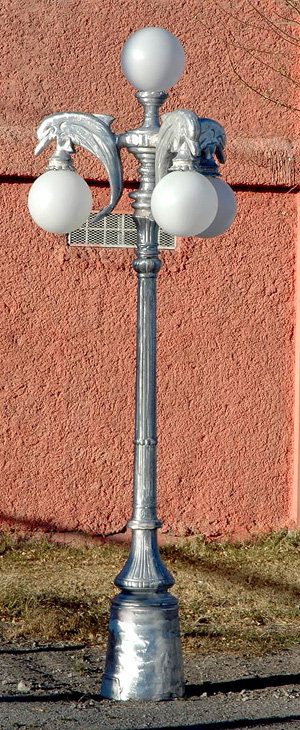 "Dolphin Lamp, 3 Arm 4 Light-H.9'5"""
