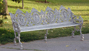 "Four Seasons Bench with Oak Seat-H:33""L:66"""